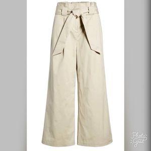 Halogen Paperbag Waist Belted High Rise Crop Pants
